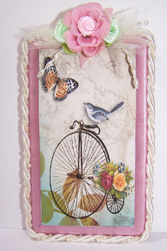 Vintage Bicycle High Wheeler with Bird Pink by antiqueorvintagenew, $20.00
