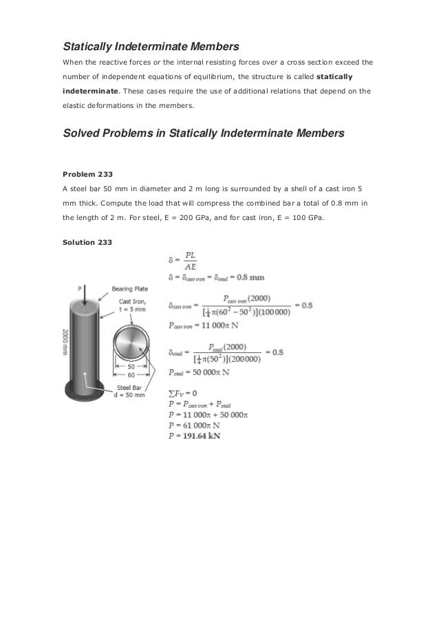 Solution 239 Problem 240 Three steel eye-bars, each 4 in. by 1 in. in section, are to be assembled by driving rigid 7/8-in...