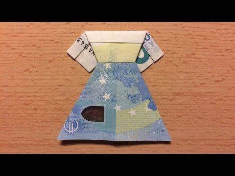 Geldschein falten Kleid - Brautkleid zum Geldgeschenke basteln zur Hochzeit - Origami mit Geld - YouTube