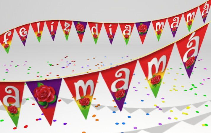 lindo banderín para decorar la fiesta de mamá
