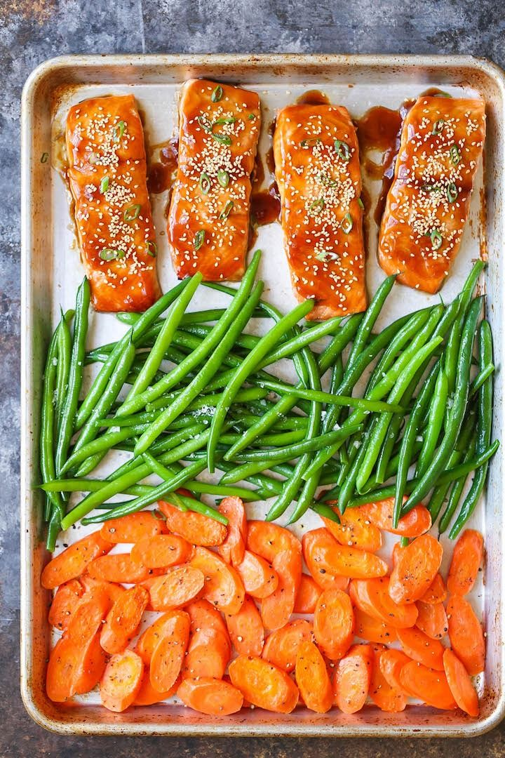 This sheet pan teriyaki salmon recipe is quick and easy!