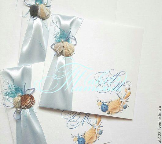 Свадебные аксессуары ручной работы. Ярмарка Мастеров - ручная работа. Купить Приглашения для свадьбы в морском стиле. Handmade. Комбинированный