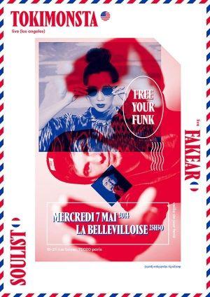 Soirées Clubbing - Free Your Funk avec Tokimonsta (live) + Fakear (live) + Soulist @ Bellevilloise - Paris, 75020