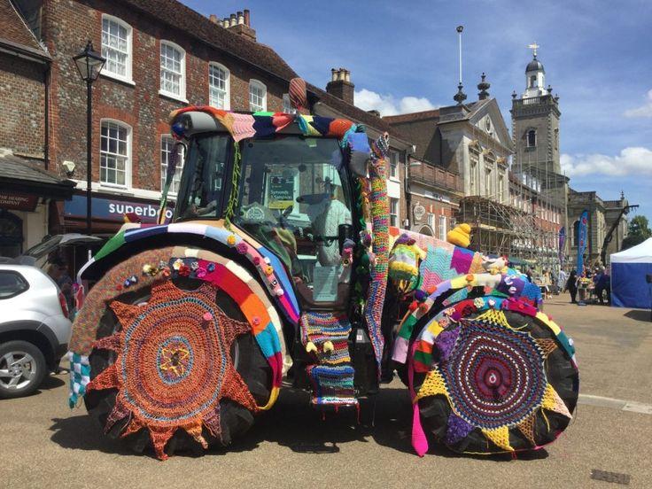 Yarn Bombed Tractor makes a splash . Massey Ferguson tractor yarn bombed by team from C&O Tractors #yarnbomb #yarnbombedtractor #woolytractor