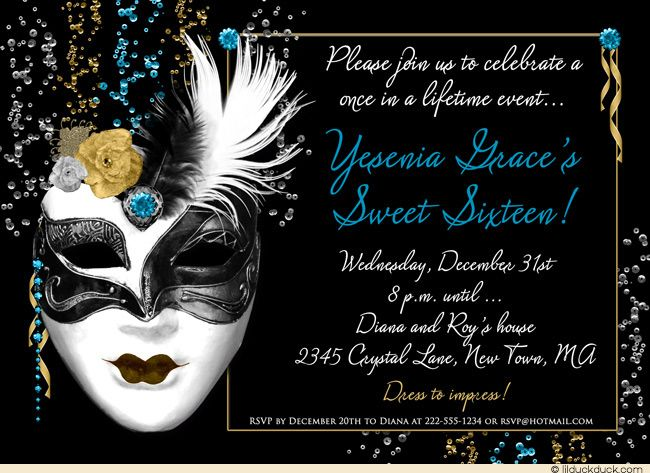 dramatic mask 16th birthday invitation magic elegant teal night in