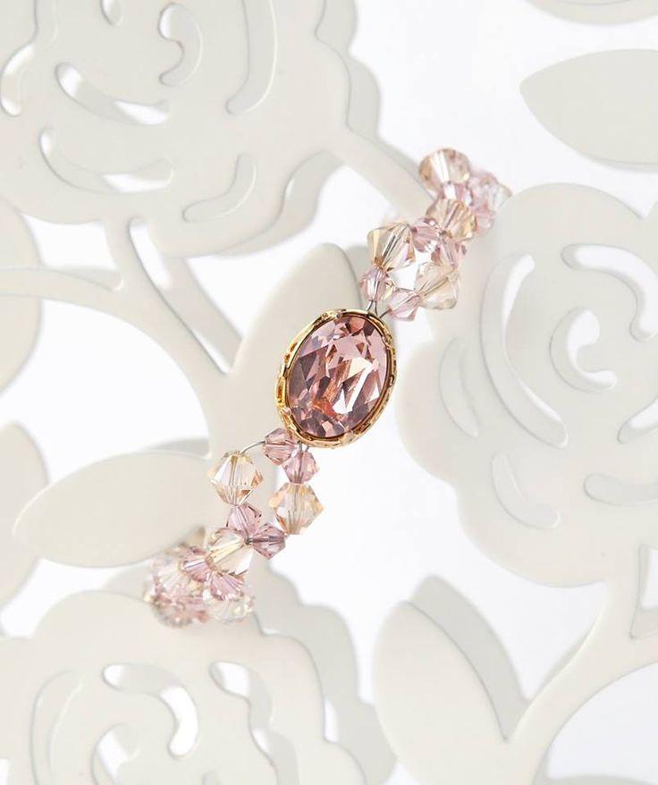 handmade vintage rose crystal bracelet