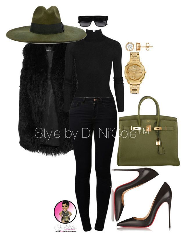 Untitled #2939 by stylebydnicole ❤ liked on Polyvore featuring DKNY, T By Alexander Wang, Noisy May, Diesel, Christian Louboutin, Hermès and Versace