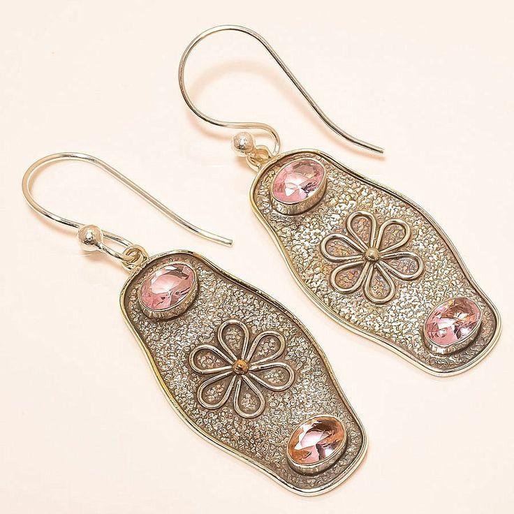 Rose Quartz Vintage Style 925 Sterling Silver Jewelry Earring 2.17