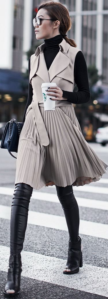 Neutral, Trench Coat Dress.
