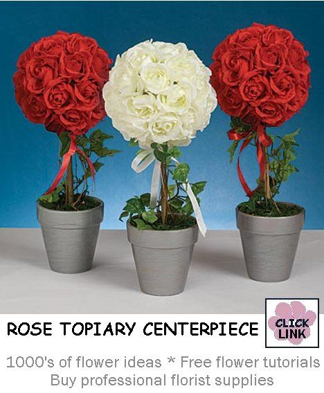 Red Rose Topiary Centerpiece : Best images about bridal shower decorations on