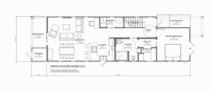 First and second floor plans for the georgetown shotgun for Shotgun home floor plans