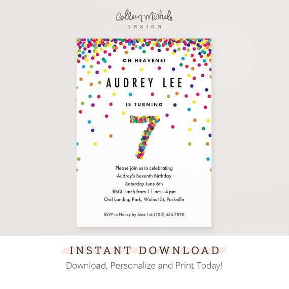 Rainbow 7th Birthday Party Invitation Instant Download Printable Pdf Cute Confetti Birthday Invitations For 7 Year Old Girl Or Boy Birthday Invitations Printable Birthday Invitations First Birthday Invitations