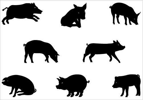 Silhouettes Agriculture - Vector Graphics of Farms, Animals etcSilhouette Clip Art
