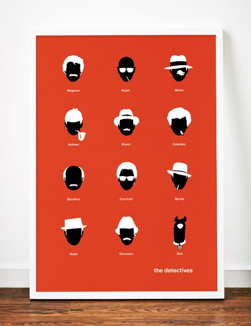 Movie poster TV Detectives art print by WeaversofSouthsea on Etsy, $19.00