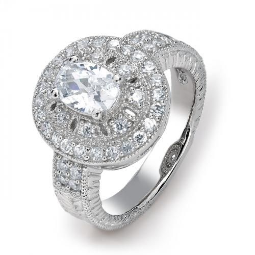 925 Sterling Silver Oval CZ Vintage Style Engagement Ring