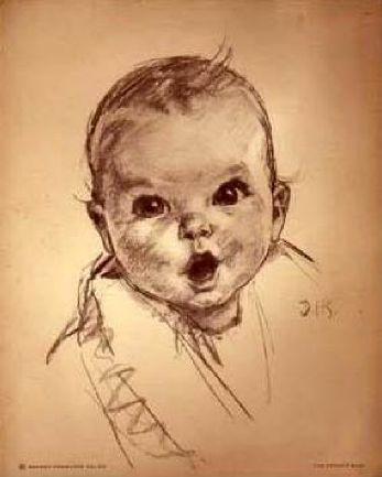 Le vrai bébé Gerber, il était sur ous les petits pots de nourriture pour bébé.