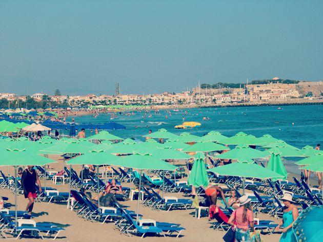 Rethymno's Long sandy beach , Crete, Greece