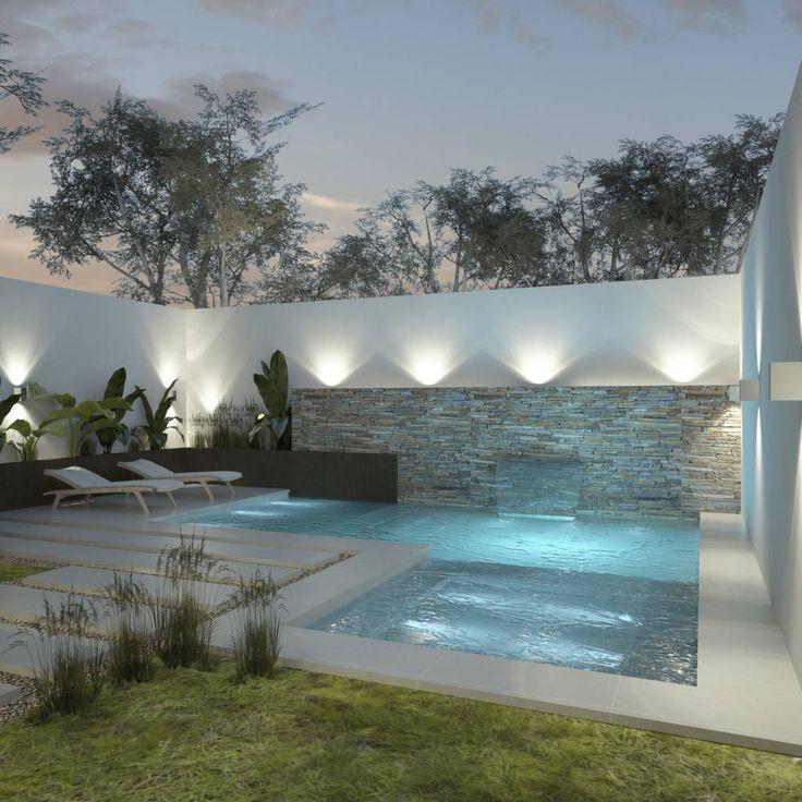 Mirá imágenes de diseños de Piletas estilo Moderno}: Diseño de patios pequeños con piscina . Encontrá las mejores fotos para inspirarte y creá tu hogar perfecto.