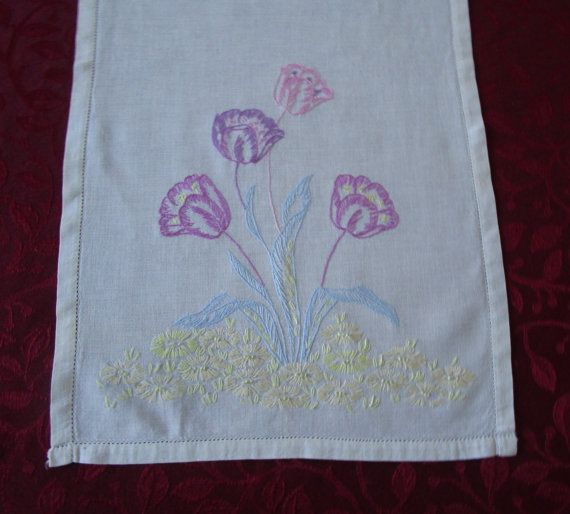 Vintage White Linen Table Runner With by VintageLinenGallery