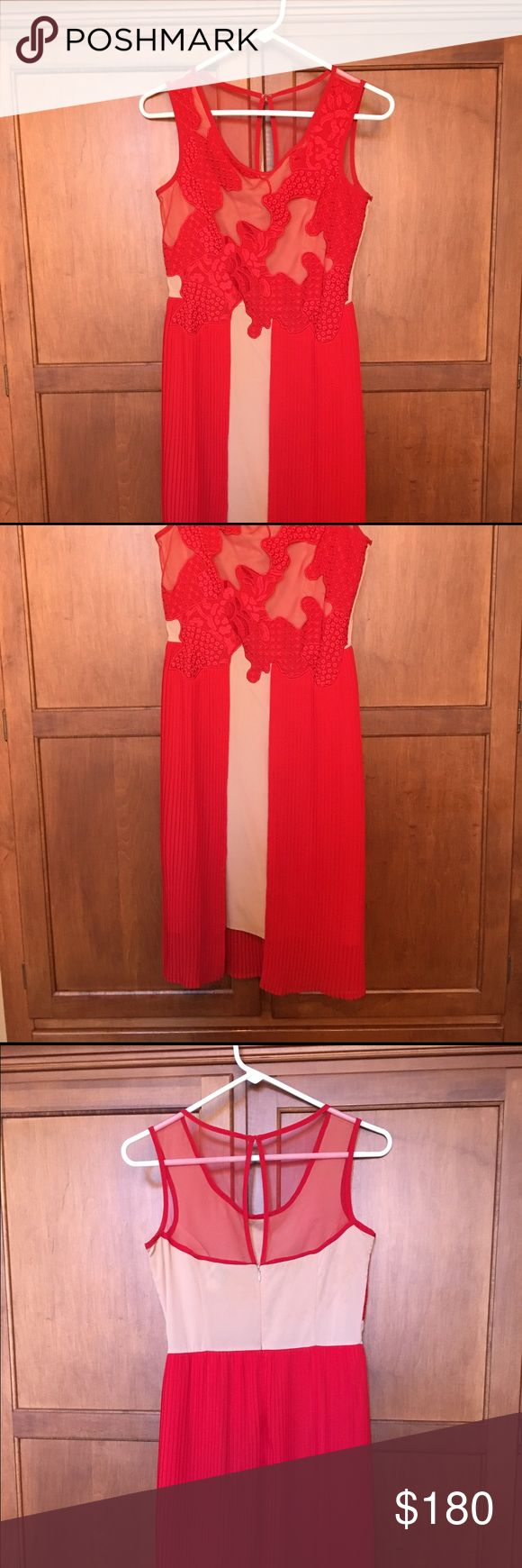 Reiss dress size 6 This vibrant red dress was worn only once to a rehearsal dinner. It's in perfect condition. Reiss sizes run small. Reiss Dresses Midi
