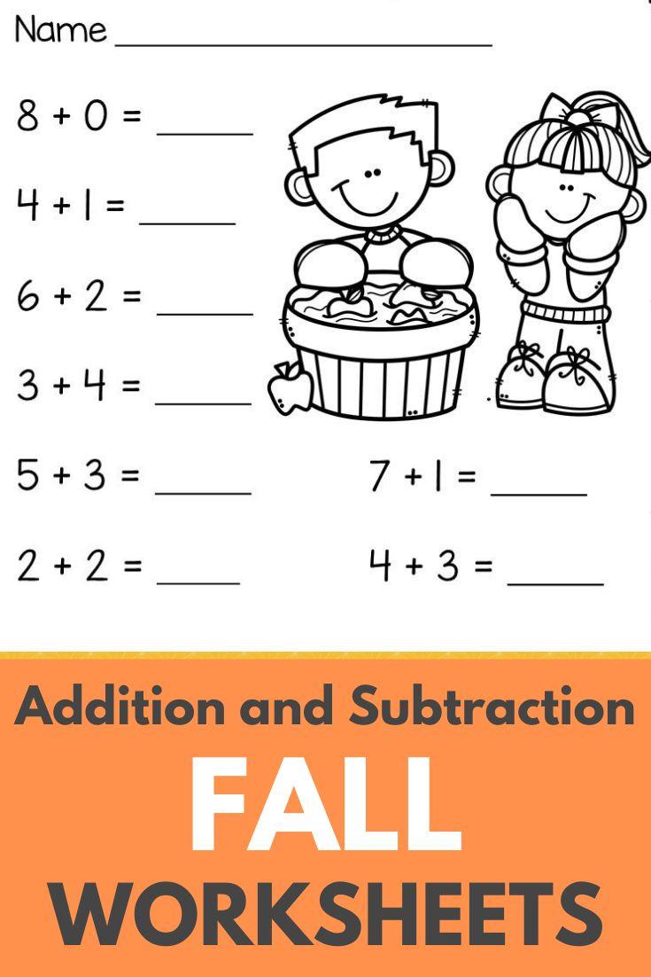 Fall Beginning Addition And Subtraction Worksheets Kindergarten 1st Grade Kindergarten Subtraction Worksheets Addition And Subtraction Worksheets Kindergarten Worksheets Beginning addition and subtraction