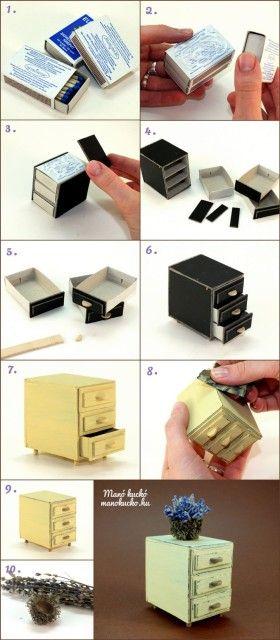 Babaház bútor készítése - Kis szekrény gyufásdobozokból - Manó kuckó