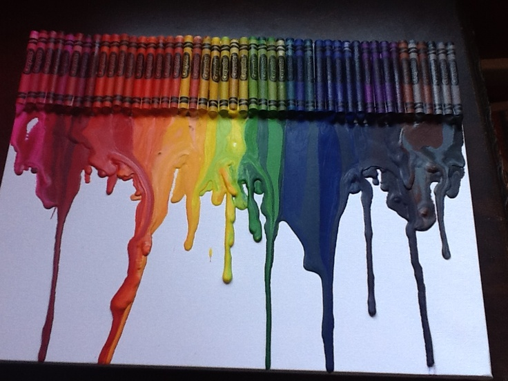 Crayon melt melissa and i made. Dollar store canvas and box of crayons so really $3.00 art:)