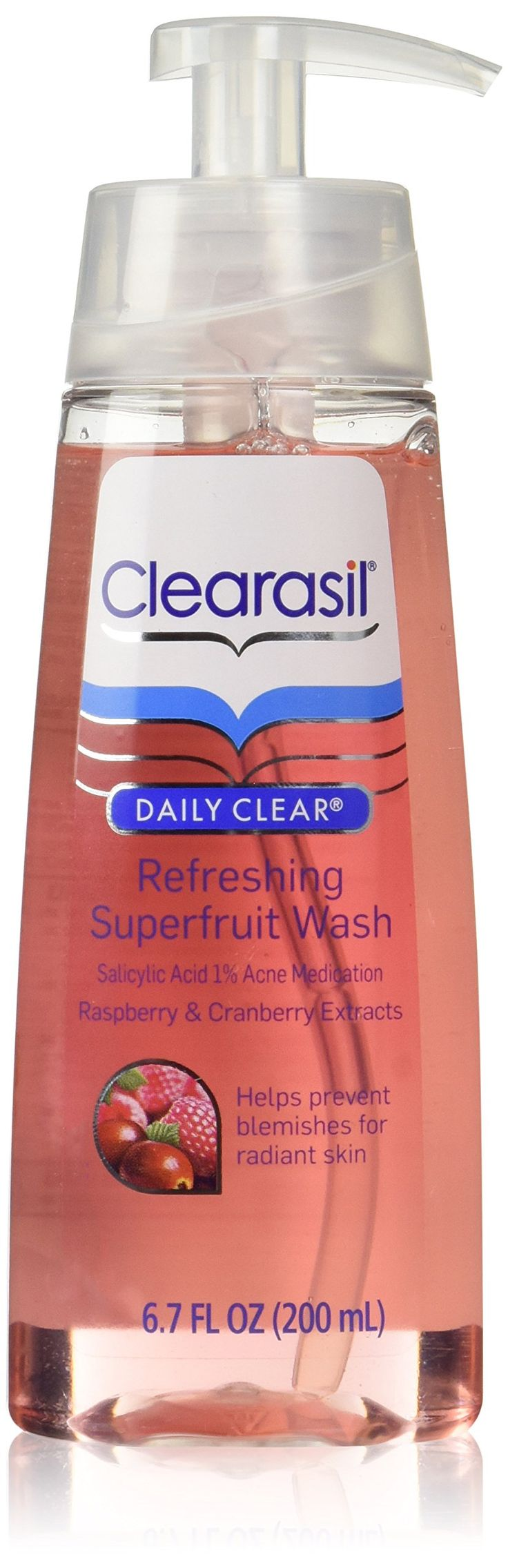 Clearasil Daily Clear Refreshing Superfruit Wash with Acne Medication, Raspberry and Cranberry Extracts, 6.7 Ounce. Contains raspberry and cranberry extracts. Helps prevent blemishes for radiant skin. Refreshing fragrance you will enjoy using every day. Brings continuous and long-lasting fragrance into your home.