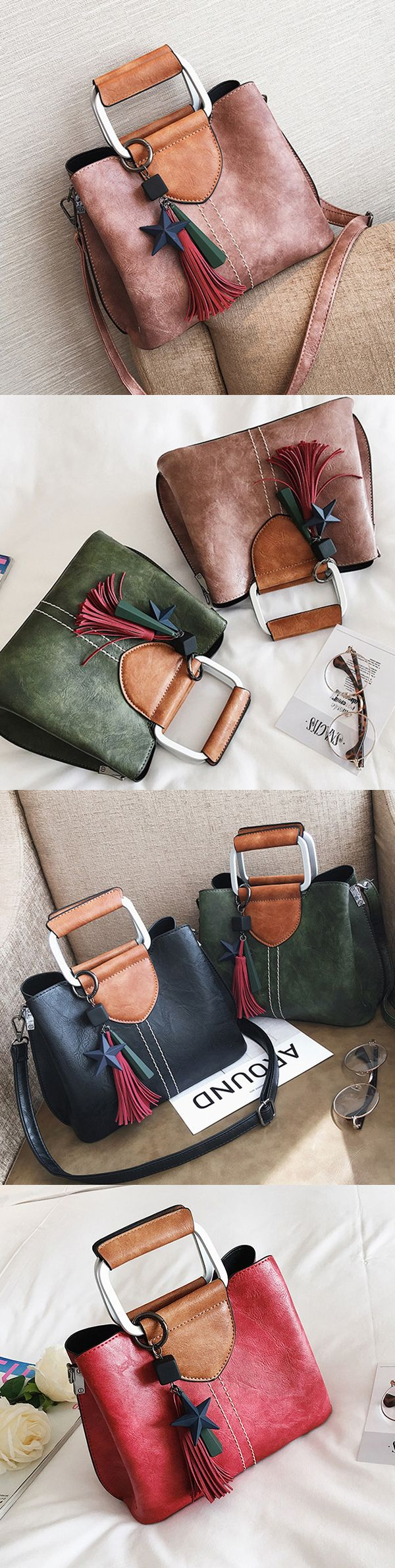 US$28.87  Women Hitcolor Retro Oil Leather Tote Bag Crossbody Bag