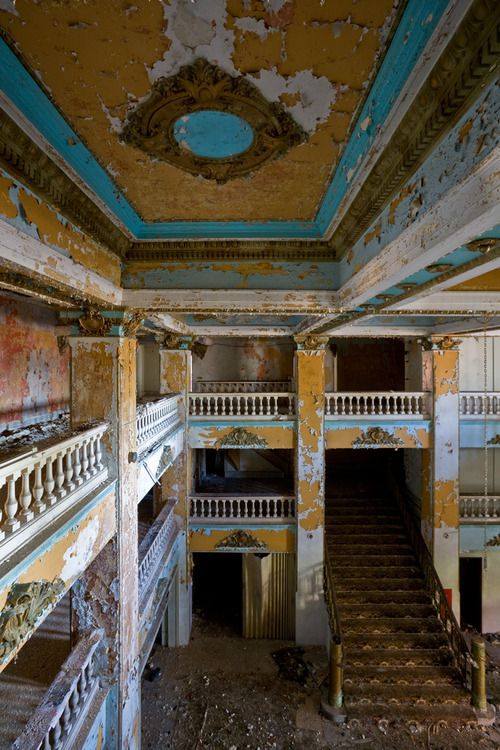 Grand entryway of the abandoned Waldo Hotel in Clarksburg, WV. as seen from the mezzanine. http://en.wikipedia.org/wiki/Waldo_Hotel