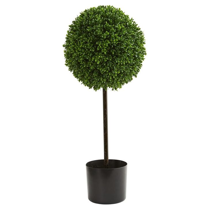 2.5 ft. UV Resistant Indoor/Outdoor Boxwood Ball Artificial Topiary Tree, Greens