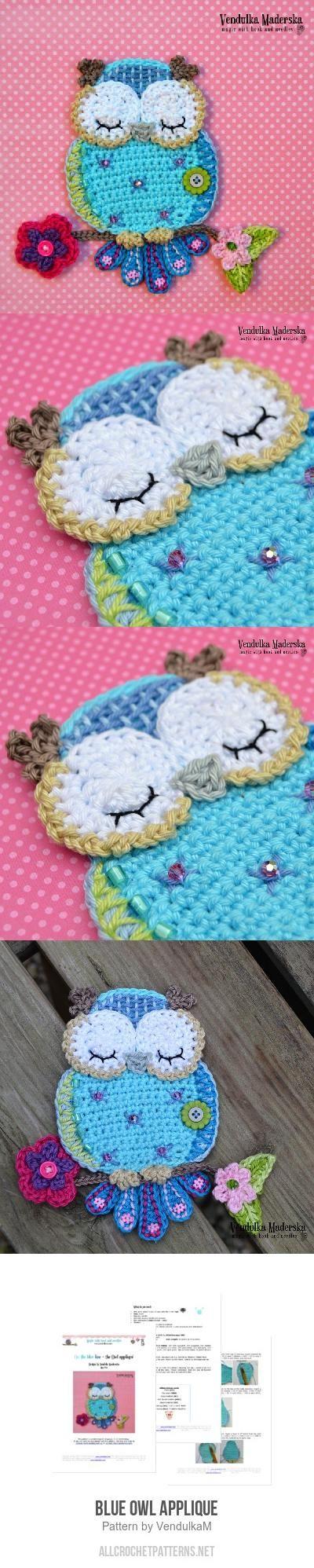Blue Owl Applique Crochet Pattern for purchase & Best 25+ Owl applique ideas on Pinterest | Free applique patterns ... pillowsntoast.com