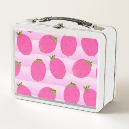 #Pink Lemons Summer Fruit Watercolor Fun Bright Metal Lunch Box - #country gifts style diy gift ideas