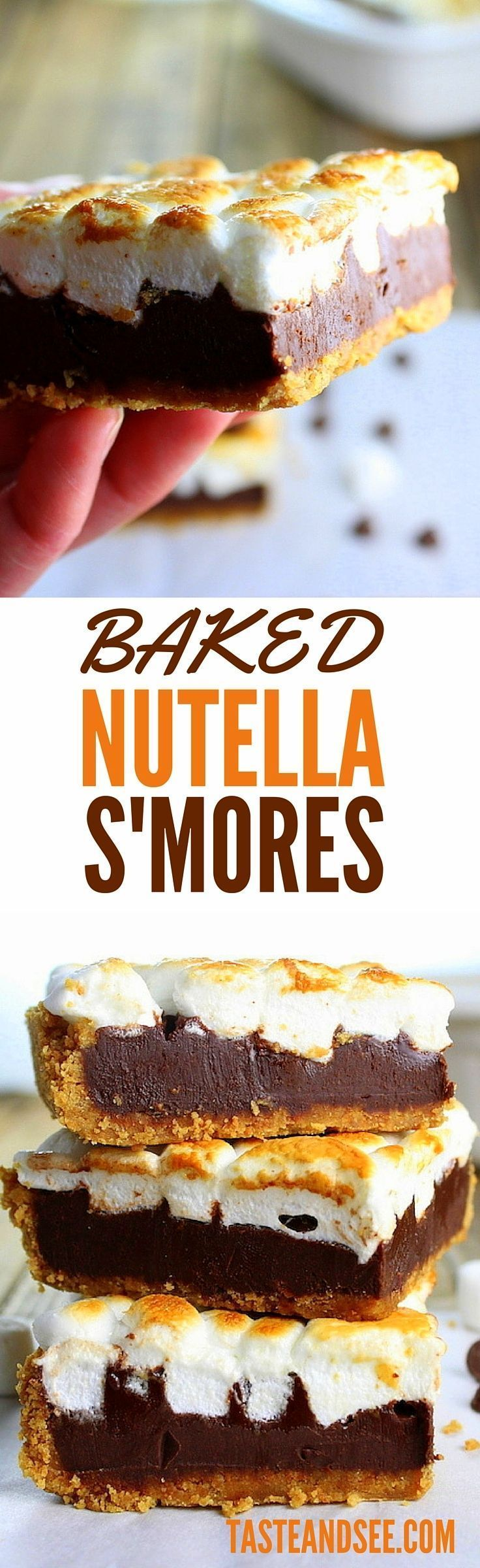 Baked Nutella S'mores - A fun and tasty alternative to brownies. Plus, baking…