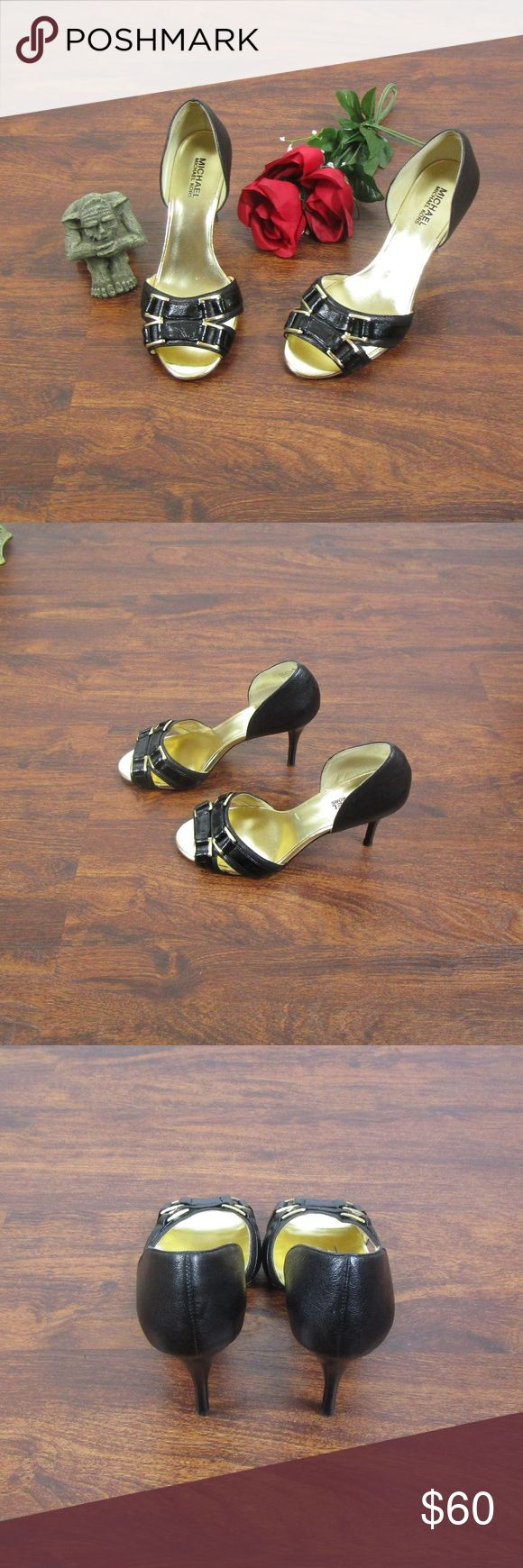 Michael Michael Kors Black Gold Peep Toe Heels These heels are in good pre owned condition. There are some indentations on both shoes with normal wear on the bottom. Please see all pictures.  As always offers and bundles are welcome. Feel free to add one or more items to a bundle for a private discount offer!!!  Approx. heel height is 3.75 inches MICHAEL Michael Kors Shoes Heels