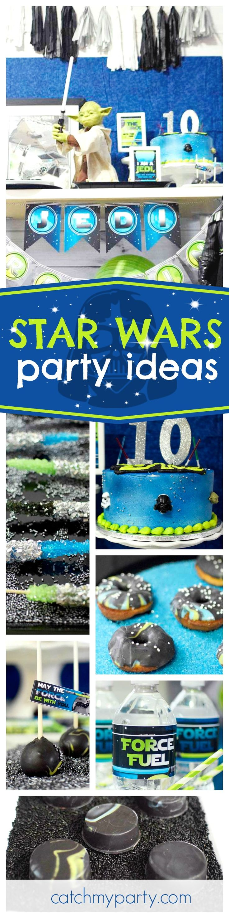 Take a trip to a very far away galaxy with this awesome Star Wars birthday party! Love the cake!! See more party ideas and share yours at CatchMyParty.com