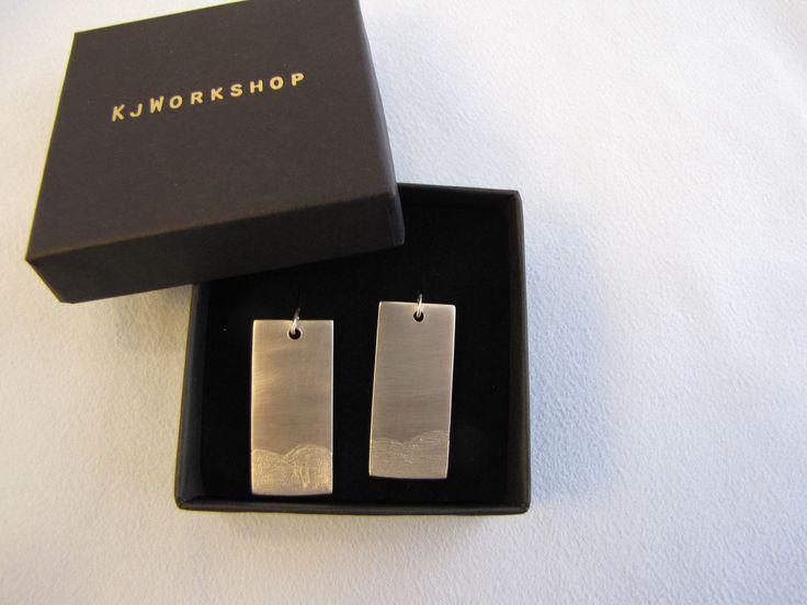 Sterling Silver Rectangle Earrings-Textured Earrings