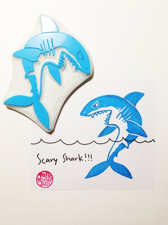 scary shark rubber stamp. angry shark stamp. hand by talktothesun