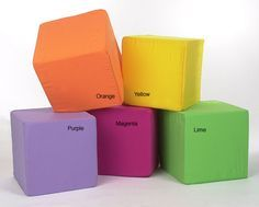 Add a fun, vivid touch to your child's playroom or bedroom with the Neat Seat Foam Cube Ottoman.