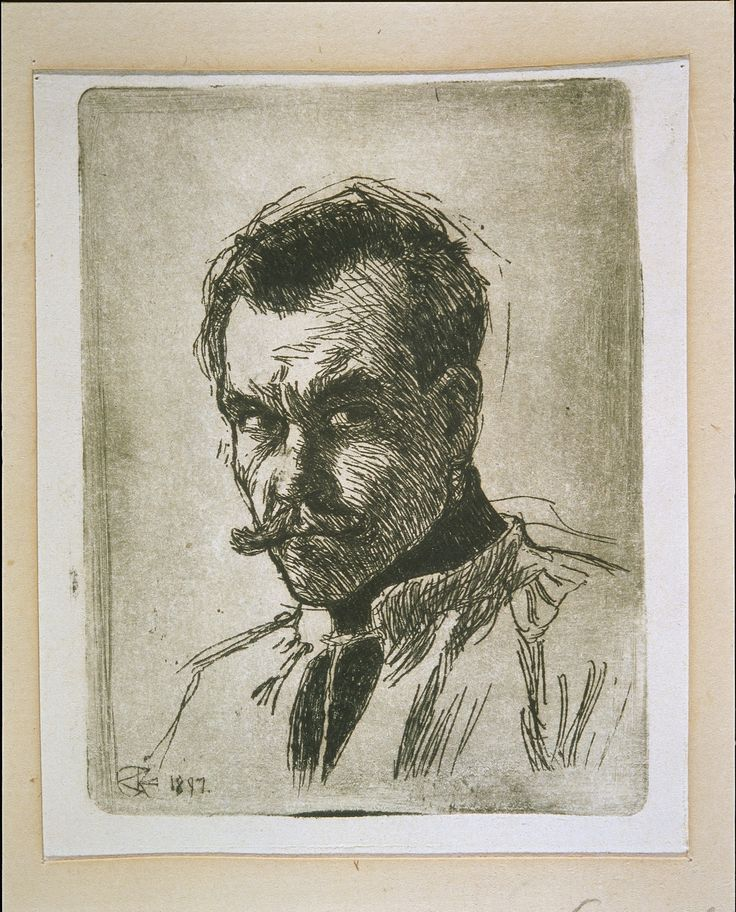 Self-portrait of Gallen-Kallela / The man depicted in the drawing is 32 year-old Axel Gallén (1865–1931) who less than ten years later adopted a more original Finnish artist name Akseli Gallen-Kallela. The drawing was completed at his studio home Kalela at Ruovesi.