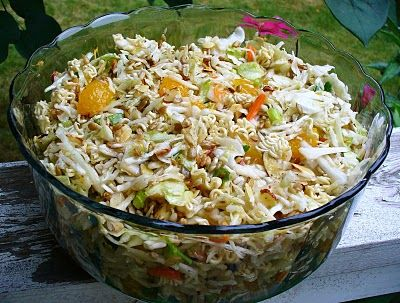 Oriental Salad with Ramen Noodles and Mandarin Oranges! - I don't know about the oranges...but I'm down for some ramen salad LOL