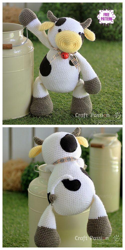 Crochet Cow Toy Amigurumi Padrões Livres