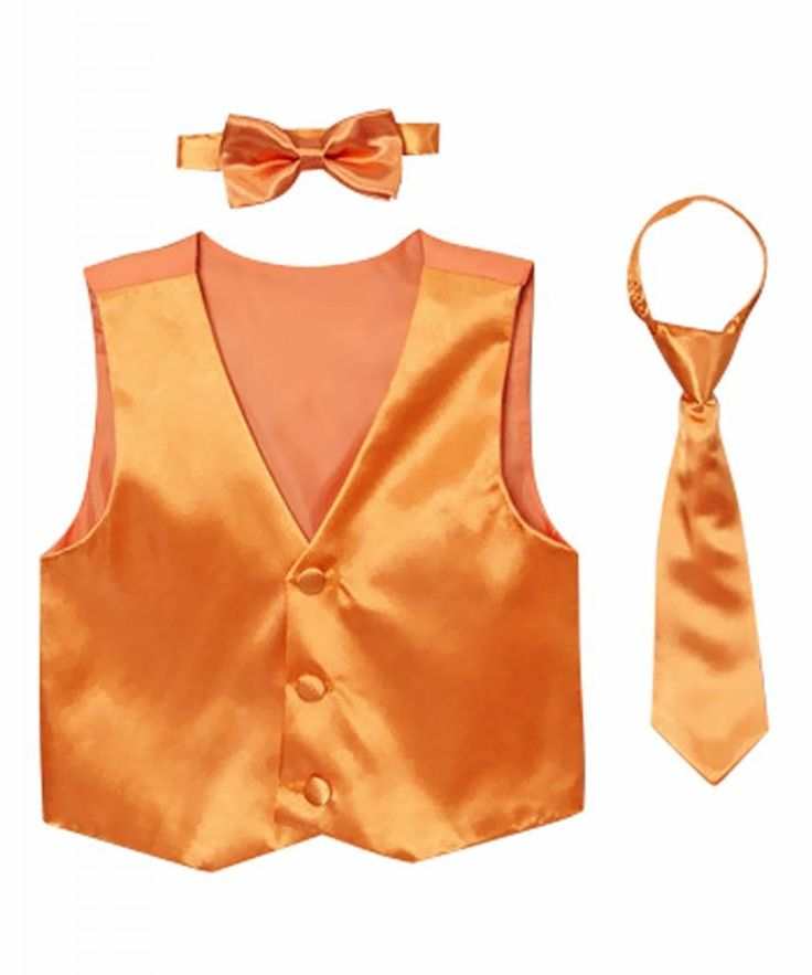 Classykidzshop Solid Orange Vest with Bow Tie and Long Tie - 10. Includes vest, tie and bow tie. 100% polyester. Hand wash; hang dry. Imported.