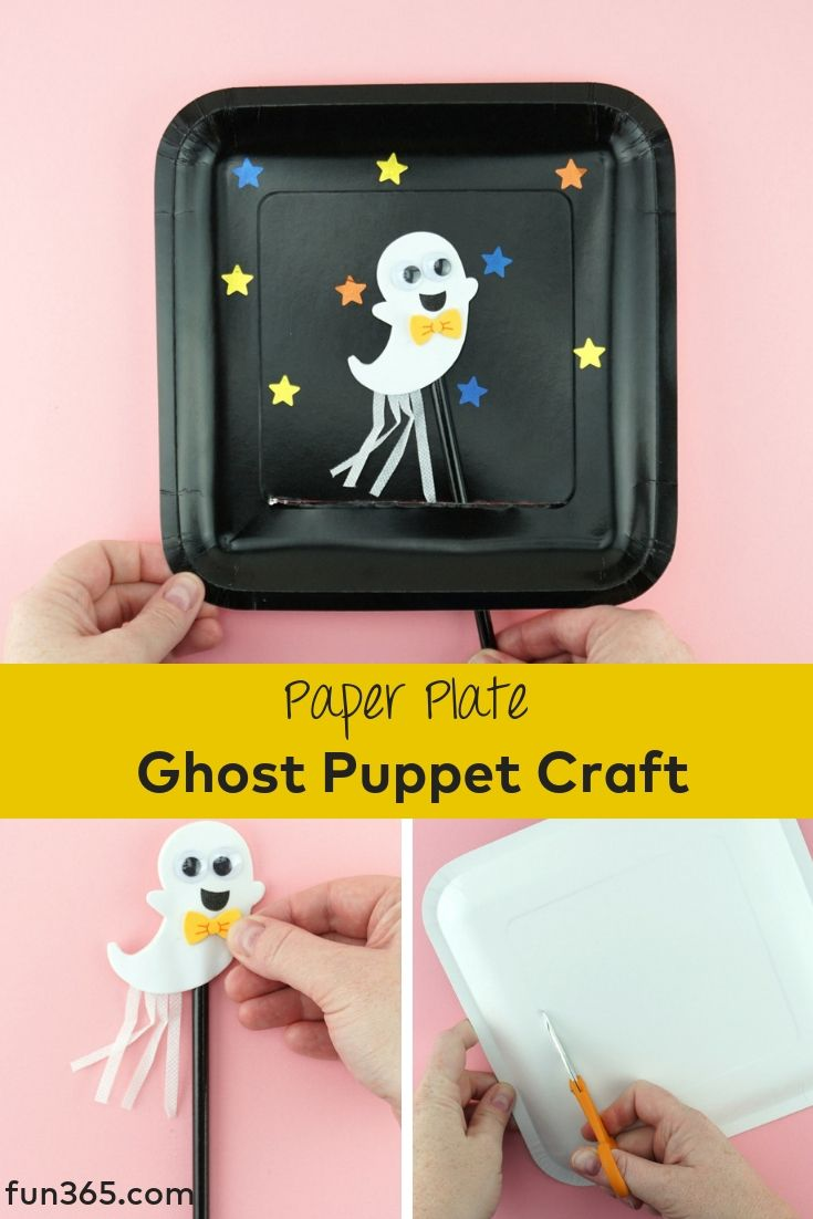 have your kids make their own puppet with this fun paper plate ghost