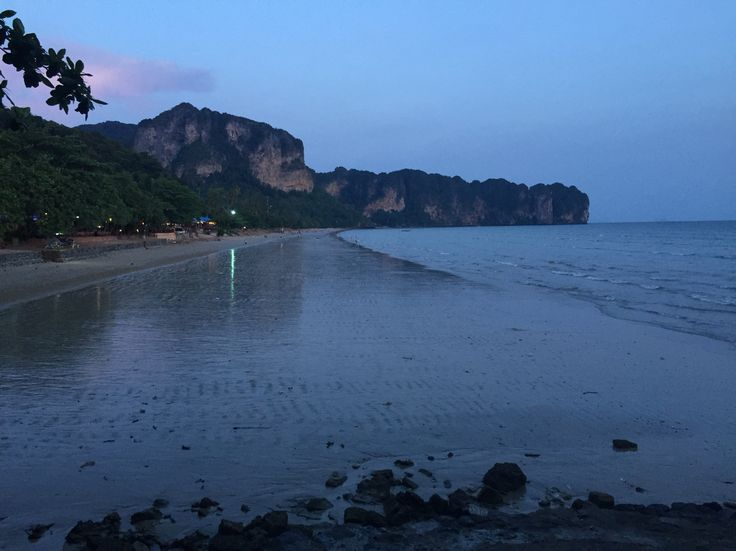 Dusk falling on Aonang beach, Krabi - June 2015