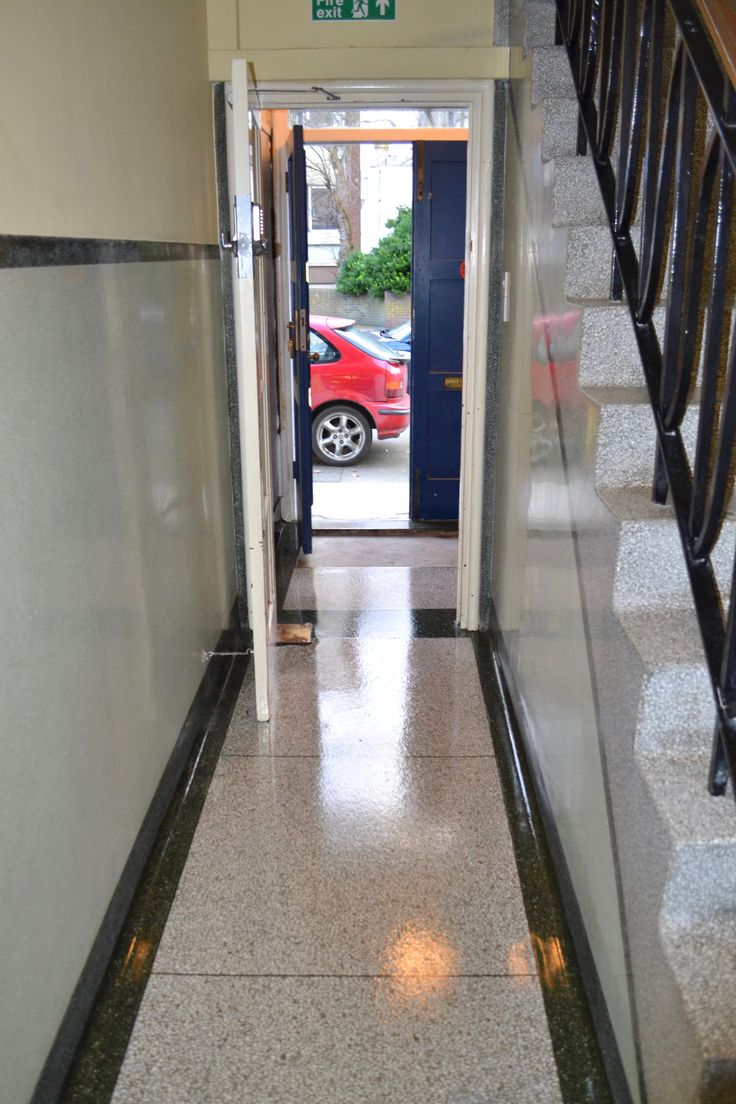New Terrazzo entrance floor and walls after restoration cleaning polishing and sealing services -  Eastbourne office block refurbishment East Sussex