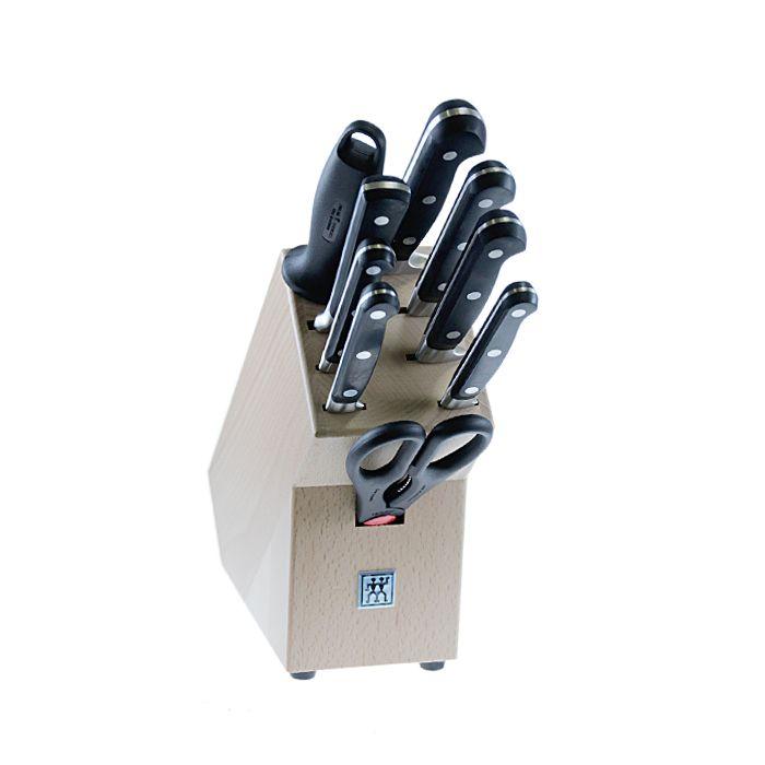 Набор ножей 9 пр, в подставке, Professional S Ножи: нож для овощей 100 мм, нож для овощей 130 мм, нож бутербродный 130 мм, нож универсальный 160 мм, нож поварской 200 мм, нож хлебный 200 мм, вилка для мяса, ножницы универсальные, мусат, подставка (дерево).