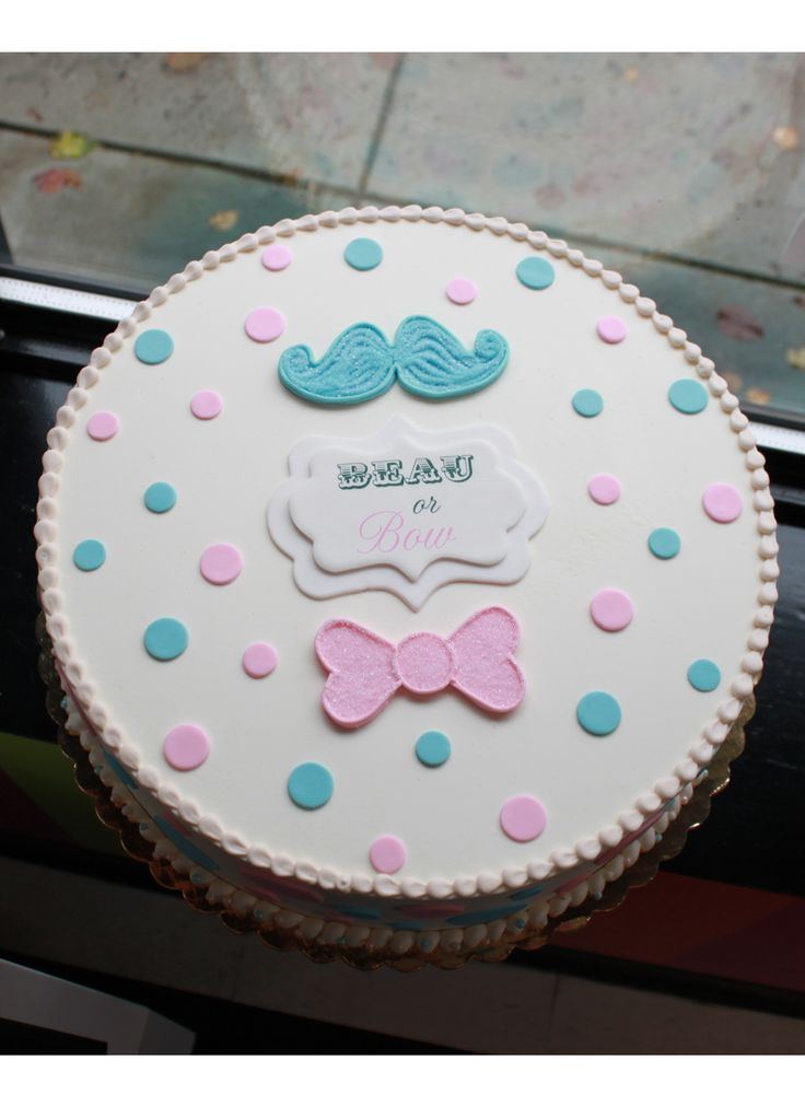 Beau or Bow Gender Reveal Cake | Whipped Bakeshop