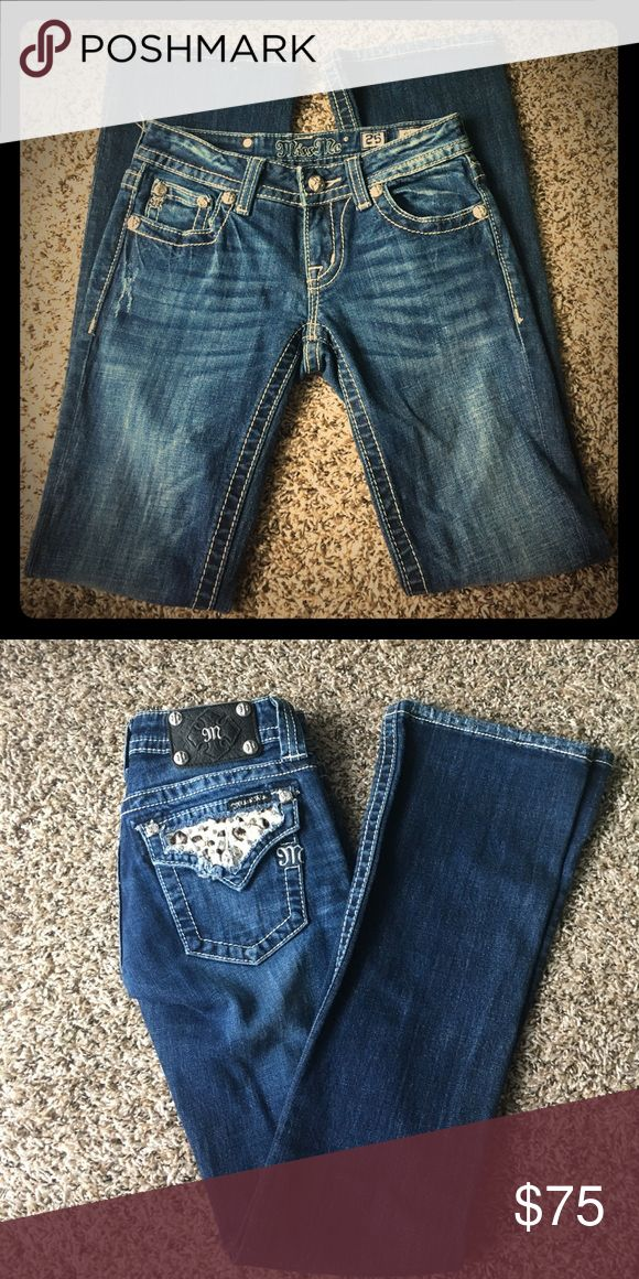 Size 25 dark wash small boot Miss Mes Size 25 Miss Mes, Dark wash, slight boot cut, No alterations done, all studs and jewels are present still Miss Me Jeans Boot Cut