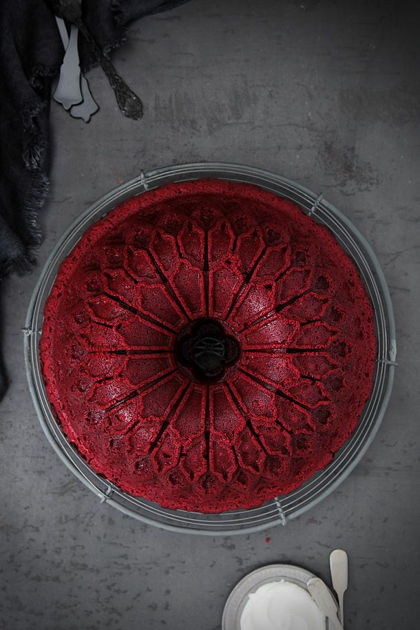 A beautifully done Red Velvet Bundt Cake by trotamundos. Featuring the new Stained Glass Bundt Pan:  http://www.williams-sonoma.com/products/stained-glass-bundt-cake-pan/